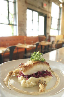 Block Island Black Bass with new potato puree, sweet and sour red cabbage, crispy oysters and horseradish aioli..